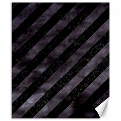 Stripes3 Black Marble & Black Watercolor Canvas 8  X 10