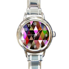 Triangles Abstract Triangle Background Pattern Round Italian Charm Watch
