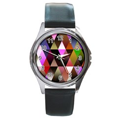 Triangles Abstract Triangle Background Pattern Round Metal Watch