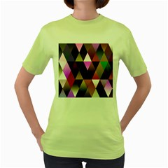 Triangles Abstract Triangle Background Pattern Women s Green T Shirt