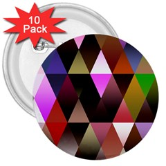 Triangles Abstract Triangle Background Pattern 3  Buttons (10 pack)