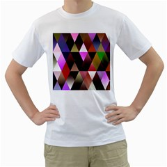 Triangles Abstract Triangle Background Pattern Men s T Shirt (white) (two Sided)