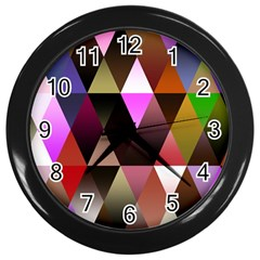 Triangles Abstract Triangle Background Pattern Wall Clocks (black)