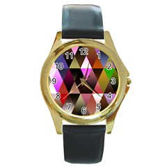Triangles Abstract Triangle Background Pattern Round Gold Metal Watch