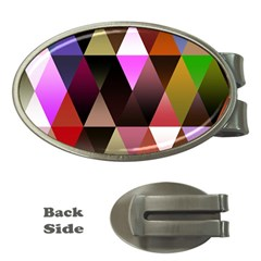 Triangles Abstract Triangle Background Pattern Money Clips (oval)