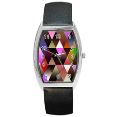Triangles Abstract Triangle Background Pattern Barrel Style Metal Watch
