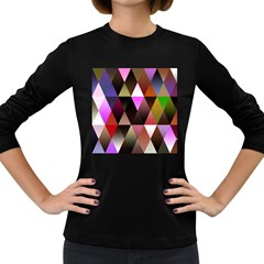 Triangles Abstract Triangle Background Pattern Women s Long Sleeve Dark T Shirts