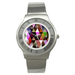 Triangles Abstract Triangle Background Pattern Stainless Steel Watch