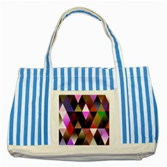 Triangles Abstract Triangle Background Pattern Striped Blue Tote Bag