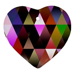 Triangles Abstract Triangle Background Pattern Heart Ornament (two Sides)