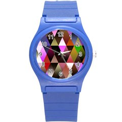 Triangles Abstract Triangle Background Pattern Round Plastic Sport Watch (s)