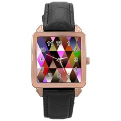 Triangles Abstract Triangle Background Pattern Rose Gold Leather Watch