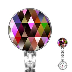Triangles Abstract Triangle Background Pattern Stainless Steel Nurses Watch