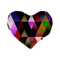 Triangles Abstract Triangle Background Pattern Standard 16  Premium Flano Heart Shape Cushions