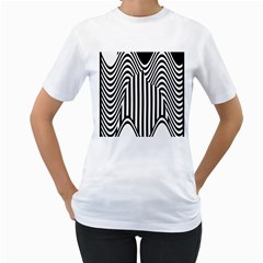 Stripe Abstract Stripped Geometric Background Women s T Shirt (white) (two Sided)