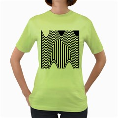 Stripe Abstract Stripped Geometric Background Women s Green T-Shirt