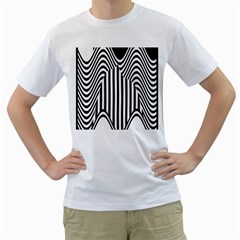 Stripe Abstract Stripped Geometric Background Men s T-Shirt (White) (Two Sided)