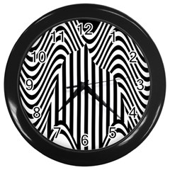 Stripe Abstract Stripped Geometric Background Wall Clocks (Black)