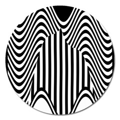 Stripe Abstract Stripped Geometric Background Magnet 5  (Round)