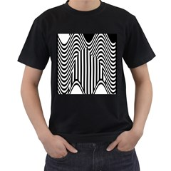 Stripe Abstract Stripped Geometric Background Men s T Shirt (black) (two Sided)