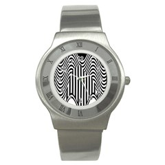 Stripe Abstract Stripped Geometric Background Stainless Steel Watch