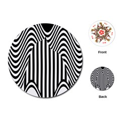 Stripe Abstract Stripped Geometric Background Playing Cards (Round)