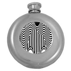 Stripe Abstract Stripped Geometric Background Round Hip Flask (5 oz)