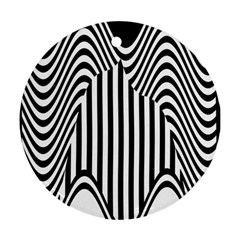 Stripe Abstract Stripped Geometric Background Round Ornament (two Sides)