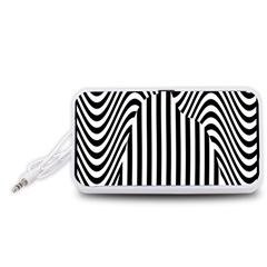 Stripe Abstract Stripped Geometric Background Portable Speaker (White)