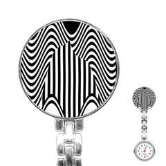 Stripe Abstract Stripped Geometric Background Stainless Steel Nurses Watch