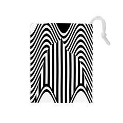 Stripe Abstract Stripped Geometric Background Drawstring Pouches (Medium)