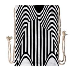 Stripe Abstract Stripped Geometric Background Drawstring Bag (Large)