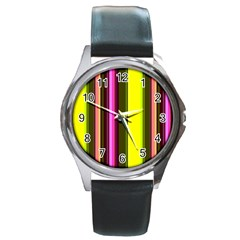 Stripes Abstract Background Pattern Round Metal Watch