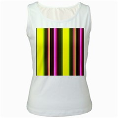 Stripes Abstract Background Pattern Women s White Tank Top