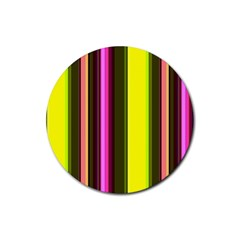 Stripes Abstract Background Pattern Rubber Round Coaster (4 Pack)