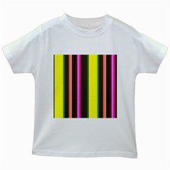 Stripes Abstract Background Pattern Kids White T Shirts