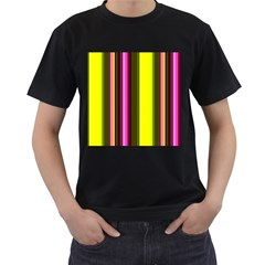 Stripes Abstract Background Pattern Men s T-Shirt (Black) (Two Sided)