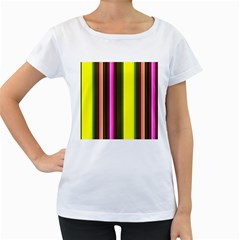 Stripes Abstract Background Pattern Women s Loose Fit T Shirt (white)