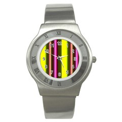 Stripes Abstract Background Pattern Stainless Steel Watch