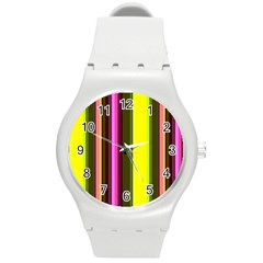 Stripes Abstract Background Pattern Round Plastic Sport Watch (m)