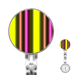 Stripes Abstract Background Pattern Stainless Steel Nurses Watch