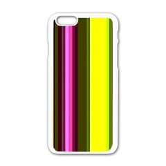 Stripes Abstract Background Pattern Apple iPhone 6/6S White Enamel Case