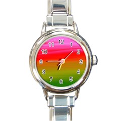 Watercolour Abstract Paint Digitally Painted Background Texture Round Italian Charm Watch