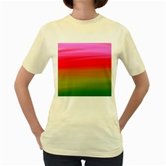 Watercolour Abstract Paint Digitally Painted Background Texture Women s Yellow T Shirt