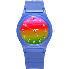 Watercolour Abstract Paint Digitally Painted Background Texture Round Plastic Sport Watch (S)