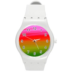 Watercolour Abstract Paint Digitally Painted Background Texture Round Plastic Sport Watch (M)