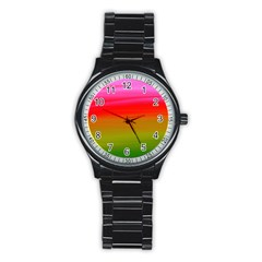 Watercolour Abstract Paint Digitally Painted Background Texture Stainless Steel Round Watch