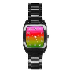 Watercolour Abstract Paint Digitally Painted Background Texture Stainless Steel Barrel Watch