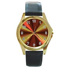 Copper Beams Abstract Background Pattern Round Gold Metal Watch