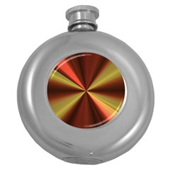 Copper Beams Abstract Background Pattern Round Hip Flask (5 oz)